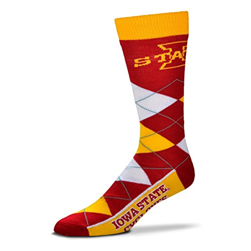 (For Bare Feet NCAA Argyle Lineup Crew Socks (Iowa State Cyclones, One Size Fits Most))