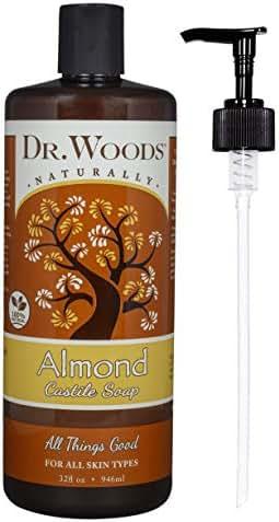 Dr. Woods Pure Almond Liquid Castile Soap with Pump, 32 Ounce