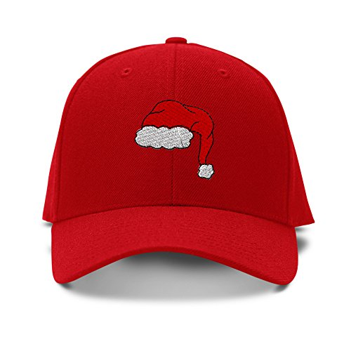 (Santa Merry Christmas Embroidery Adjustable Structured Baseball Hat Red)