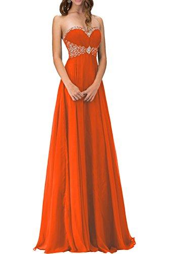 La Promkleider Steine Festlichkleider mia Braut Lang A Linie Orange Chiffon Abendkleider Herzausschnitt Rock Ballkleider rxg4rwqA