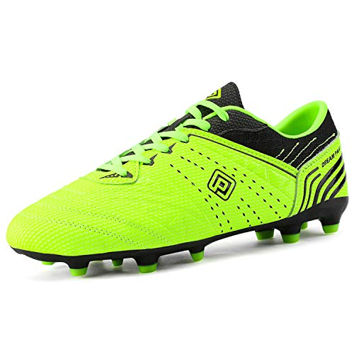 DREAM PAIRS 160859 Men's Sport Flexible Athletic Lace Up Light Weight Outdoor Cleats Football Soccer Shoes Neongreen Black Size 9.5