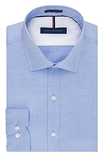 Tommy Hilfiger Men's Non Iron Slim Fit Solid Spread Collar Dress Shirt, Blue, 16.5