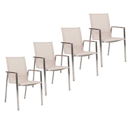 Stern Gartenmöbel Set Boston 4-teilig Stapelsessel aus Edelstahl mit Teakarmlehnen in Sand