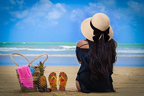 Packable UPF Straw Sunhat Women Summer Beach Wide Brim Fedora Travel Hat 54-59CM