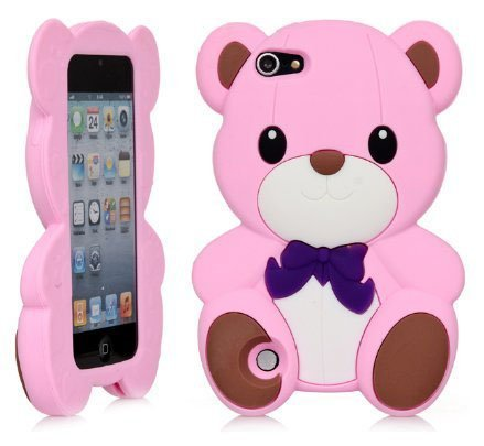 iPod Touch 5 Case,Apple iPod Touch 6 Teddy Case,Bat King 3D Cute Cartoon Teddy Bear Soft Silicon Gel Rubber Case Cover Skin for Apple iPod Touch 5/Touch 6(Pink Teddy) (Ipod Starbucks Case)