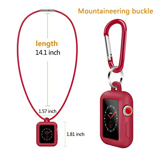 Coholl with Genuine Leather Necklace Pendant Strap Replacement Silicone Protector Cases Cover Compatible for Apple Watch Series 3 2 1 38mm 42mm Neck Band Accessories (red, 42MM) by Coholl (Image #1)
