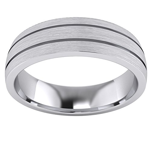 Heavy Solid Sterling Silver 6mm Unisex Wedding Band Comfort Fit Domed Ring Two Grooves Brushed Surface (11) by LANDA JEWEL (Image #1)