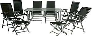 IB-Style - Juego de muebles de jardín (15 piezas, aluminio y tejido, mesa de 150 x 90 cm), color negro