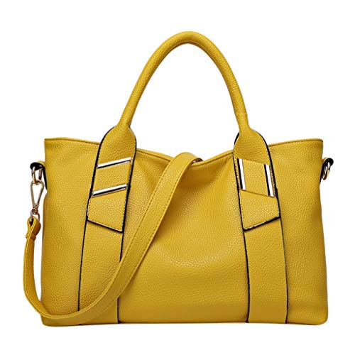 (Wild Women Totes Handbags - POHOK Women Large Capacity Simple All-purpose Fashion Soft Leather Shoulder Bag Totes(Free,Yellow))