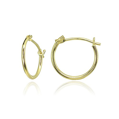 14K Yellow Gold Tiny Small 12mm High Polished Round Thin Lightweight Unisex Hoop Earrings ()