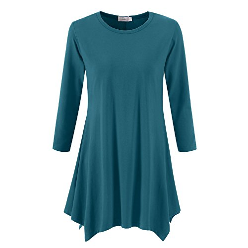 3/4 Tunic Top - Topdress Women's Swing Tunic Tops 3/4 Sleeve Loose T-Shirt Dress Teal S