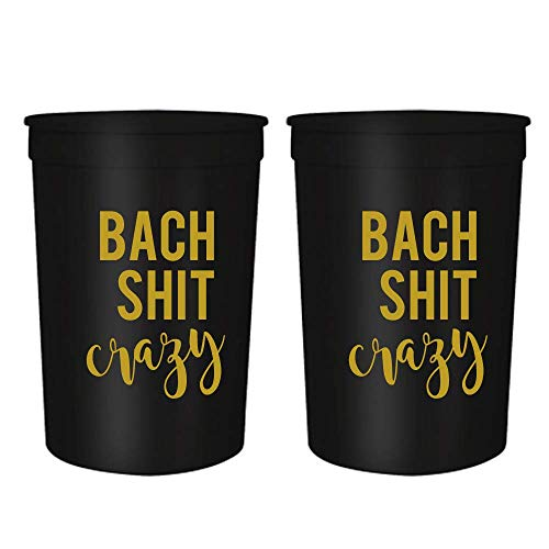 Bach Shit Crazy - Bachelorette Party Cups,16oz Set of 12 | Bachelorette Party Decorations Perfect for Weddings, Bridal Showers, and Engagements (Black)