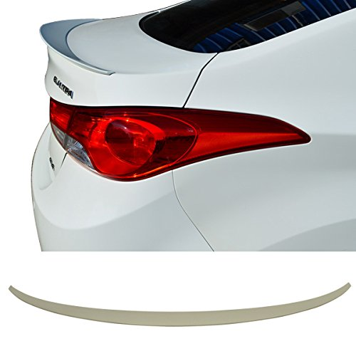 Trunk Spoiler Fits 2010-2015 Hyundai Elantra | Factory Style Unpainted ABS Added On Lip Wing Bodykits by IKON MOTORSPORTS | 2010 2011 2012 2013 2014 2015