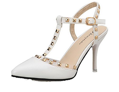 VogueZone009 Women Patent Leather Pointed Closed Toe Solid Buckle Sandals White