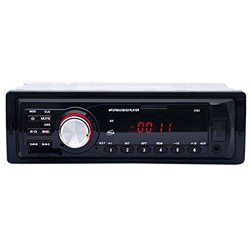 Cikuso 1Din Radio de coche Radio de auto Estereo 12V Soporte FM SD AUX Interfaz USB En el tablero 1 Din Dispositivo receptor reproductor de MP3 de coche Carga de telefono