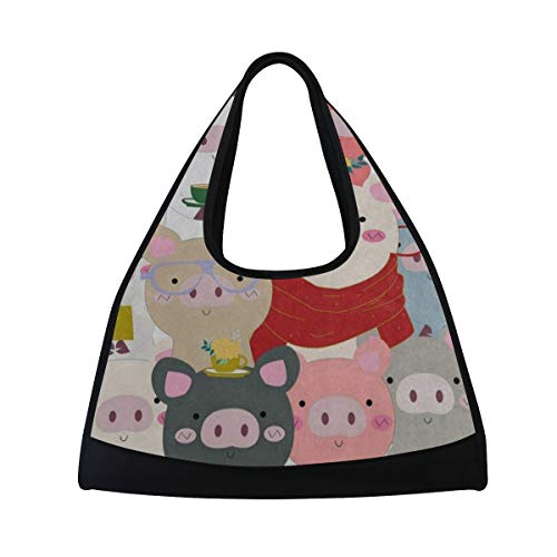 e44215b7c609 Gym Bag Lovely Pig Blue Green Pink Women Yoga Canvas Duffel Bag Tennis  Racket Tote Bags