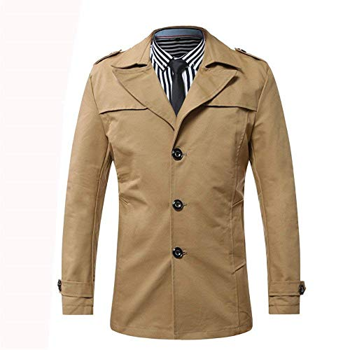 BoBoLily Coat Short Parka Winter Coat Long Down Fit Men's Turn Sleeve Classic Casual Khaki Collar Jacket Slim Trench Coat PrPXq