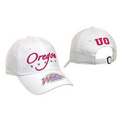 NCAA Licensed Oregon Ducks White Slouch Fit Baseball Hat Cap Lid