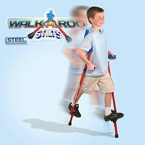 (Geospace Original Walkaroo Stilts by Air Kicks (Steel) with Ergonomic Design for Easy Balance Walking, RED)