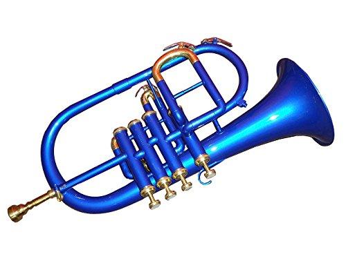 Queen Brass Flugelhorn 4Valve Bb/F Pitch W/Case & Mp Blue