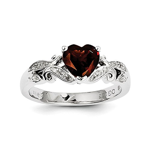 (925 Sterling Silver Rhodium Plated Diamond And Garnet Heart Ring Size 7 (1.32ct))