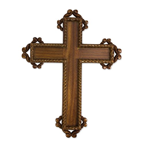 NOVICA Christianity Large Parota Wood Wall Cross, Brown, Colonial Faith' by NOVICA