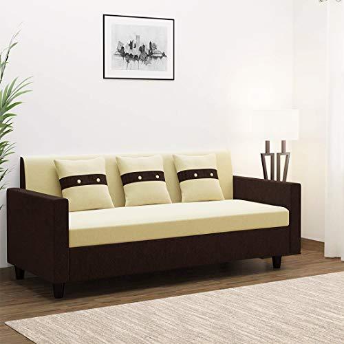 FURNY Lifestyle Fabric 3 Seater Sofa Set  Cream Brown