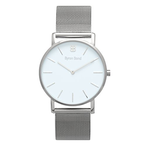 38mm Ultra Thin Slim Case Minimalist Fashion Watch for Men & Women by Byron Bond (Harley - Silver Case with White Dial and Silver Mesh -