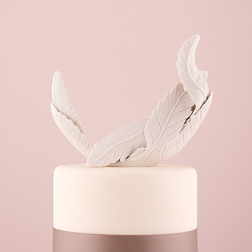 Buy weddingstar white feather porcelain cake topper