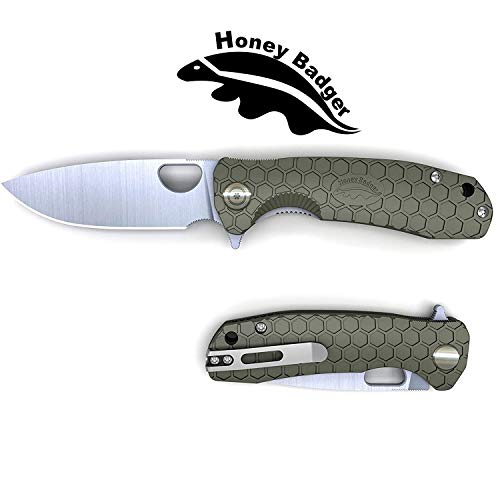 "Honey Badger Flipper Knife Pocket Knife Liner Lock Folding Knife Tactical Hunting Fishing Camping Fruit Knife FRN Handle Deep Pocket Carry Clip (Green, Medium 2.96oz - 4.1"" Closed - 3.2"" Blade)"