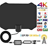 TV Antenna HD Indoor HDTV Antenna for Digital TV With 120 Miles Long Range Support 4K 1080p & All Types TV's With Powerful Detachable Amplifier Signal Booster, Power Adapter and Longer Coax Cable [2018 Upgraded]
