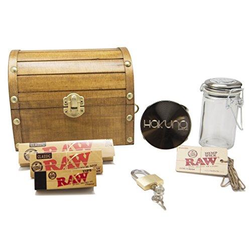 Treasure-Chest-Wooden-Lock-Box-7-Pc-Accessory-Bundle-Grinder-Stash-Jar