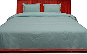 Brightlinen Aqua Blue Double (135 X 190 Cm) Duvet Set Flat Sheet Solid 4pcs