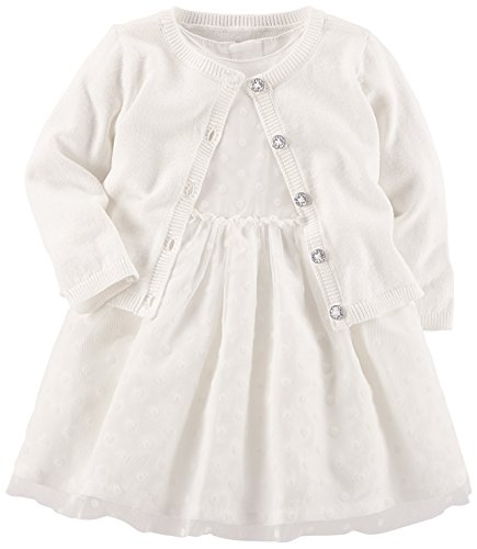 Baby White Dress (Carter's Baby Girls' Special Occasion Dress with Cardigan, Ivory/Gold, 6 Months)
