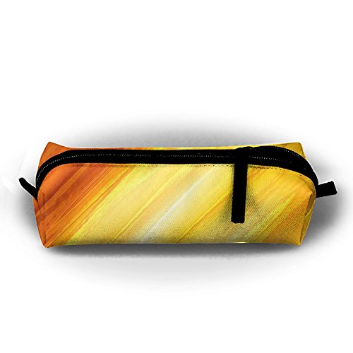 Stationery Bag Pen Holder Pencil Pouch Cosmetic Abstract Yellow And Orange Painting Office Supplies Coins Makeup Pouch Purse For Students