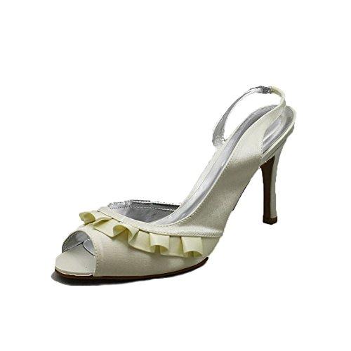 Señoras satén de tacón alto zapatos de dama de honor / fiesta con frente de volantes Ivory