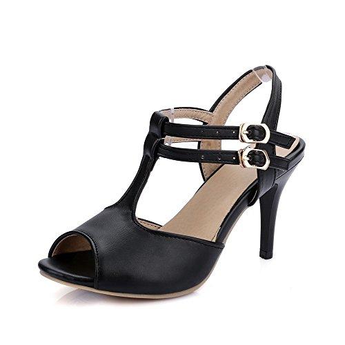 Allhqfashion Womens Solid Pu Hoge Hakken Peep Toe Gesp Hakken-sandalen Zwart