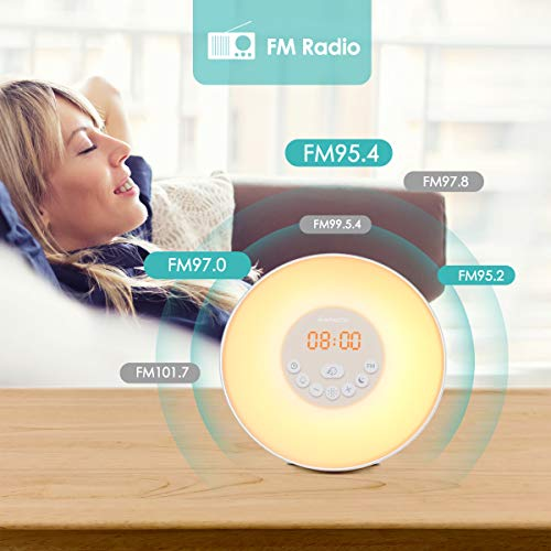 instecho Sunrise Alarm Clock, Digital Clock, Wake Up Light with 6 Nature Sounds, FM Radio and Touch Control (White) … by instecho (Image #3)