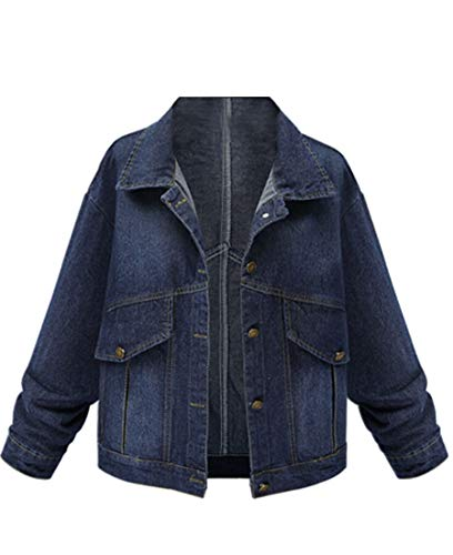 Down Women's Dark Denim Button Boyfriend Blue Coats Loose EKU Down Jacket Turn WFnwqdpp0