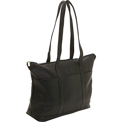 Ledonne Leather Double Strap Pocket Tote Bag, Black, - Tote Strap Double Large