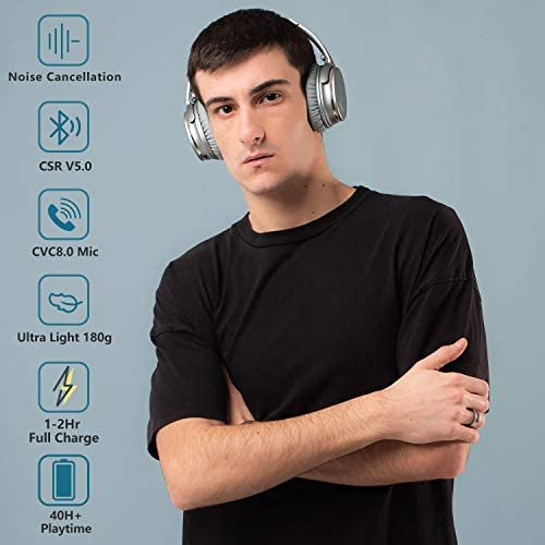 Noise Cancelling Headphones Wireless Bluetooth 5.0,Fast Charge Over-Ear Lightweight Srhythm NC35 Headset with Microphones,Mega Bass 40+ Hours' Playtime -Low Latency 41m54dBgI1L