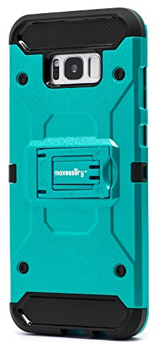 Maxessory Pathfinder Heavy-Duty Rugged Protector Armor Cover w/Shock-Absorbing Durable Cushion Shell + Kickstand View-Mode Teal Case Compatible with Galaxy S8 Plus/Galaxy S8+