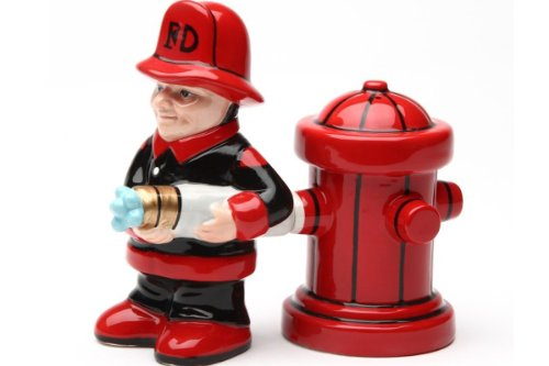Fireman with Hose and Hydrant 4 Inch Ceramic Magnetic Salt and Pepper Shaker Set Novelty Gift (Salt Hers Shakers And Pepper And His)