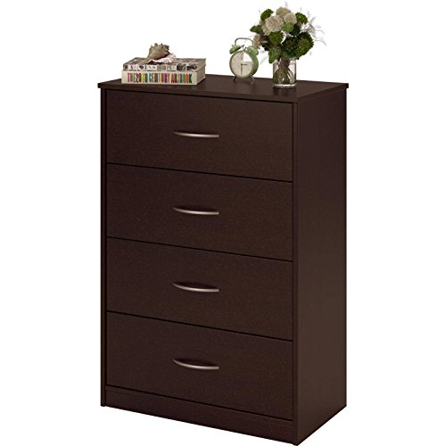 Gracelove 4 Drawer Dresser Chest Bedroom Furniture Storage Wood Drawers, 5 colors (Forrest Dark Brown)