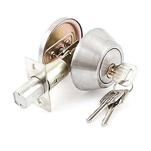 Bedroom Silver Tone Metal Deadbolt Single Cylinder Door Lock w 3 ...