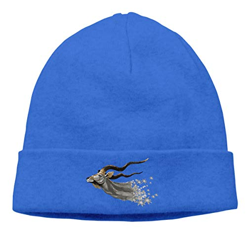 Skully Beanie Wool Knitted Cap Antelope Chamois Wildebeest Warm Hat Daily Slouchy Hats Crease Knit Beanies Skull Cap Blue