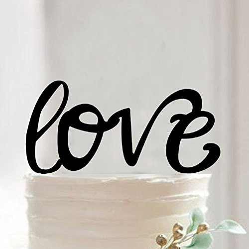 Love Cake Topper Wedding Party Decorations Engagement Bridal Shower Black