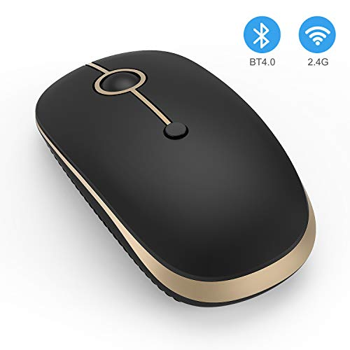 Wireless Bluetooth Mouse, Jelly Comb Slim Dual Mode 2.4GHz Wireless and Bluetooth Mouse with 2400 DPI for PC, Laptop, Mac, Windows (Black and Gold)