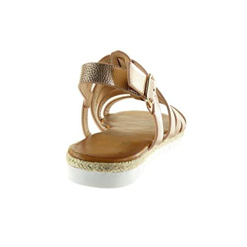 Angkorly - Chaussure Mode Sandale Espadrille spartiates semelle basket femme peau de serpent lanière corde Talon plat 2.5 CM - Champagne