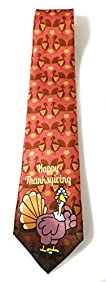 Stonehouse Collection Men's Thanksgiving Tie - Funny Novelty Thanksgiving Tie - Nervous Turkey